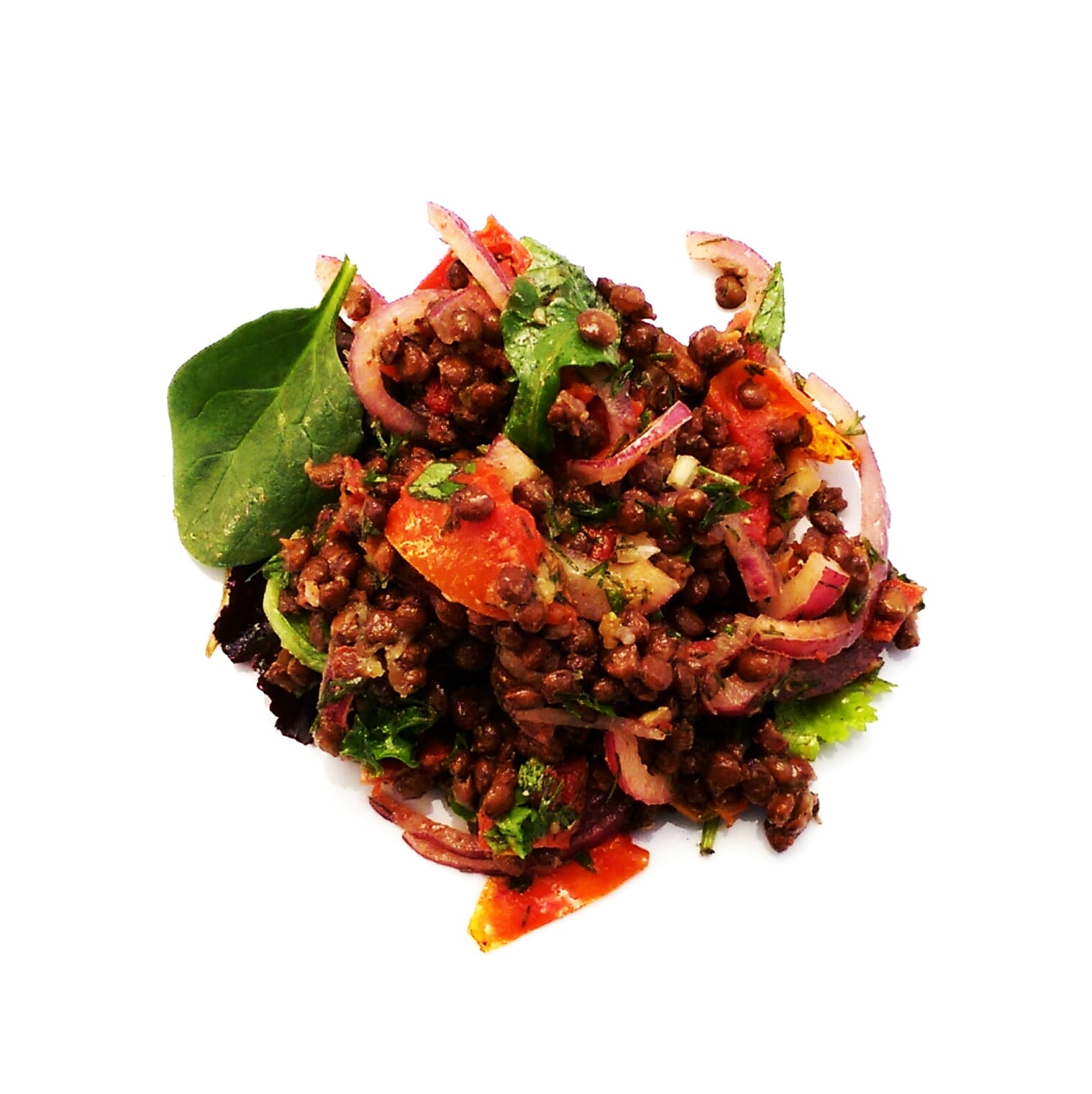 Lush lentil and sun dried tomato salad