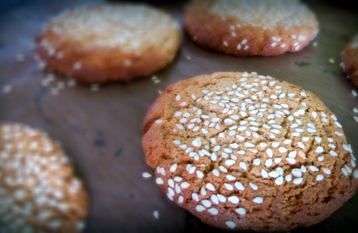close up of sesame cookies