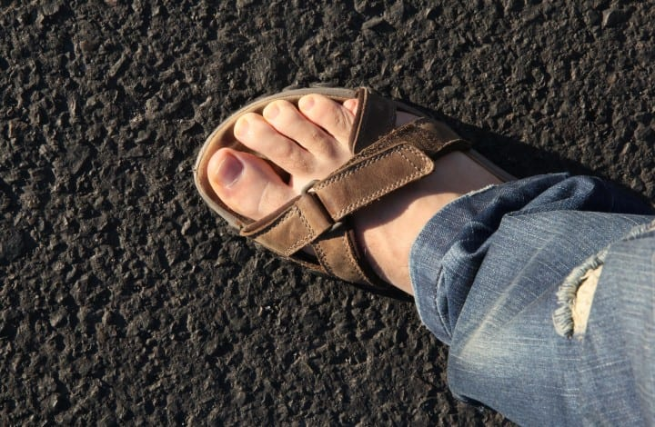 Foot wearing a sandal