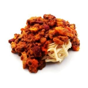 bean bolognese and noodles