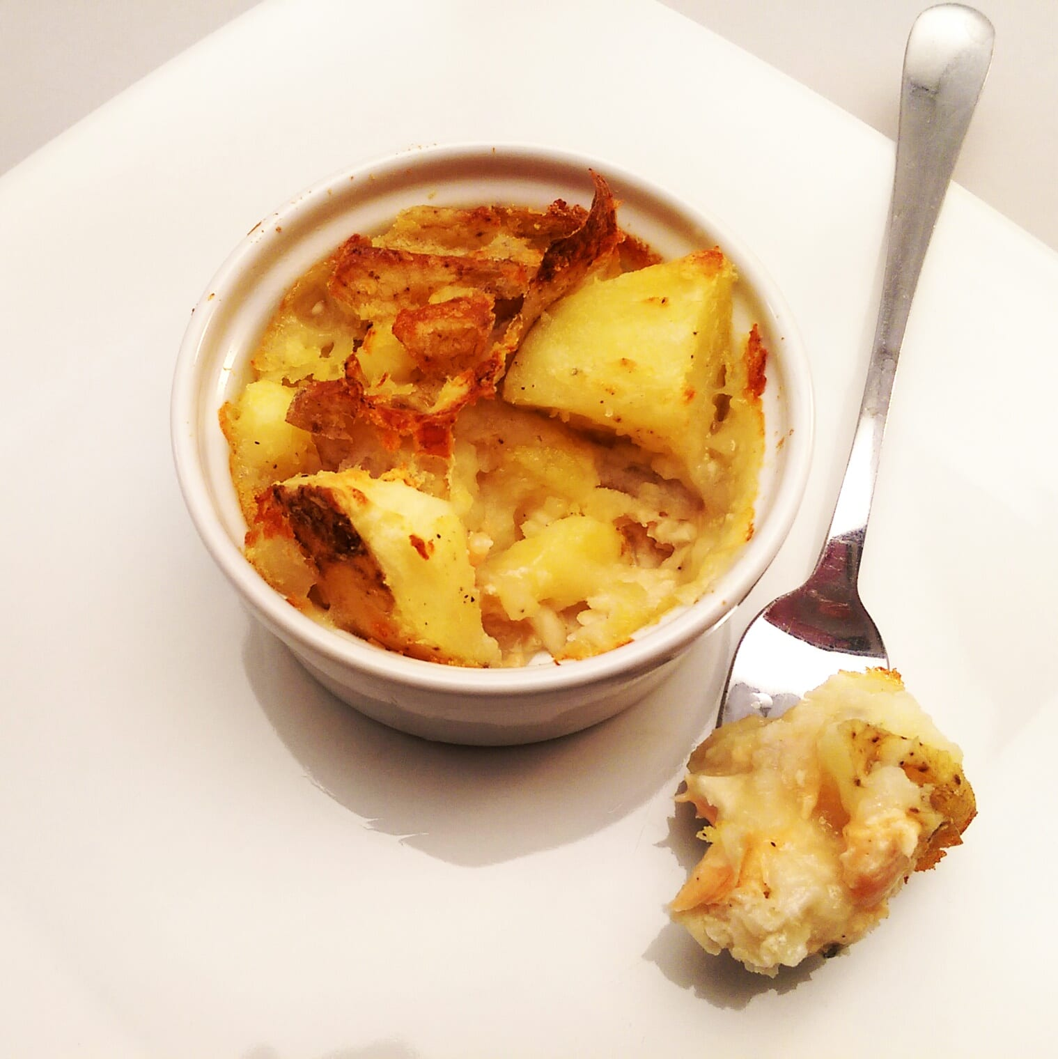 Fish pie with crushed potato top