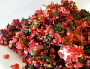 A pile of beetroot and feta quinoa salad