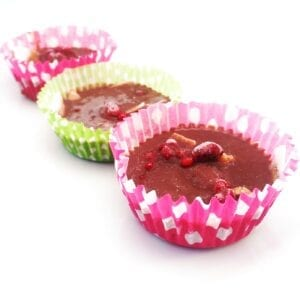 pink and green cases filled with choc raspberry and coconut