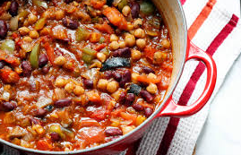A bowl of vegetarian chilli