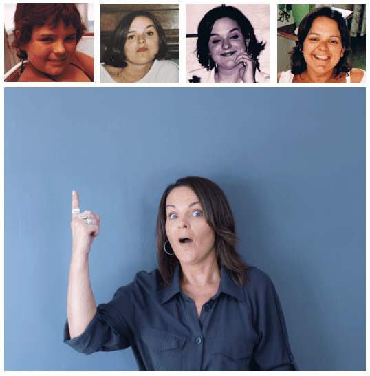 natasha with a shocked face pointing at 4 overweight picture aged 7 to 28