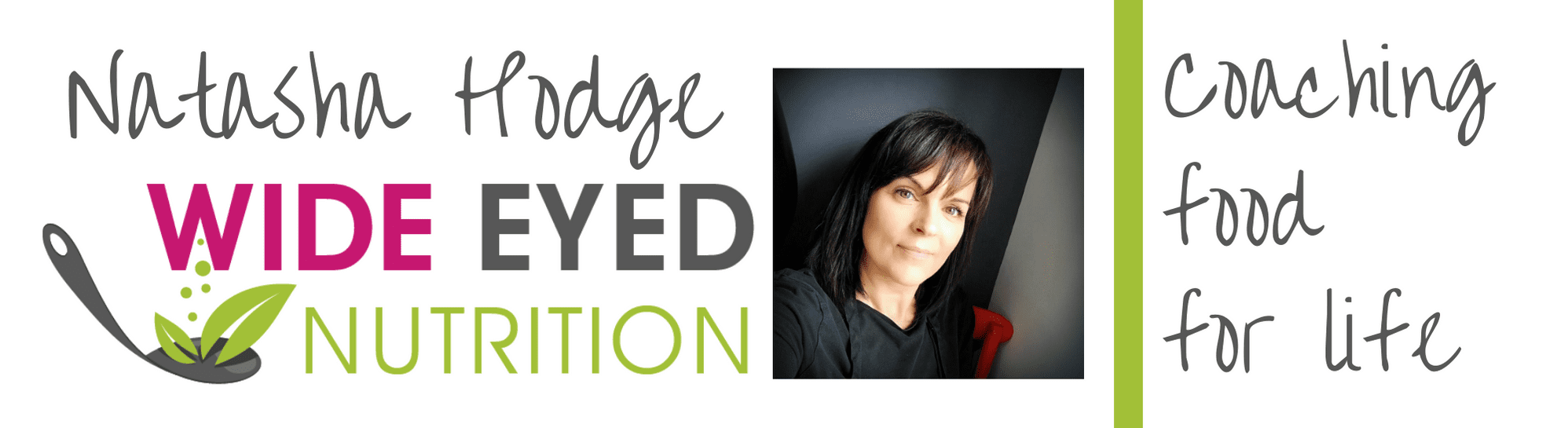 natasha hodge and wide eyed nutrition logo with a leaf on a spoon and a headshot of natasha with the [hrase coaching food for life