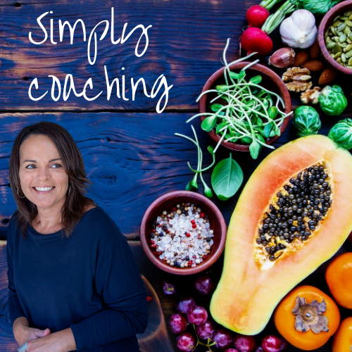 simply coaching with a picture of natasha and a background of blue wood and fruits and veg