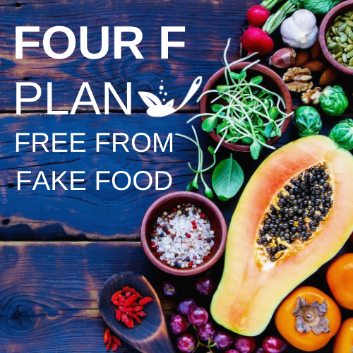four f plan with a background of blue wood and fruits and veg