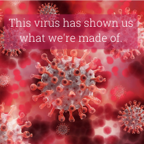 computer generated red coloured covid 19 virus with the article title 'this virus ahs shown us what we're made of'