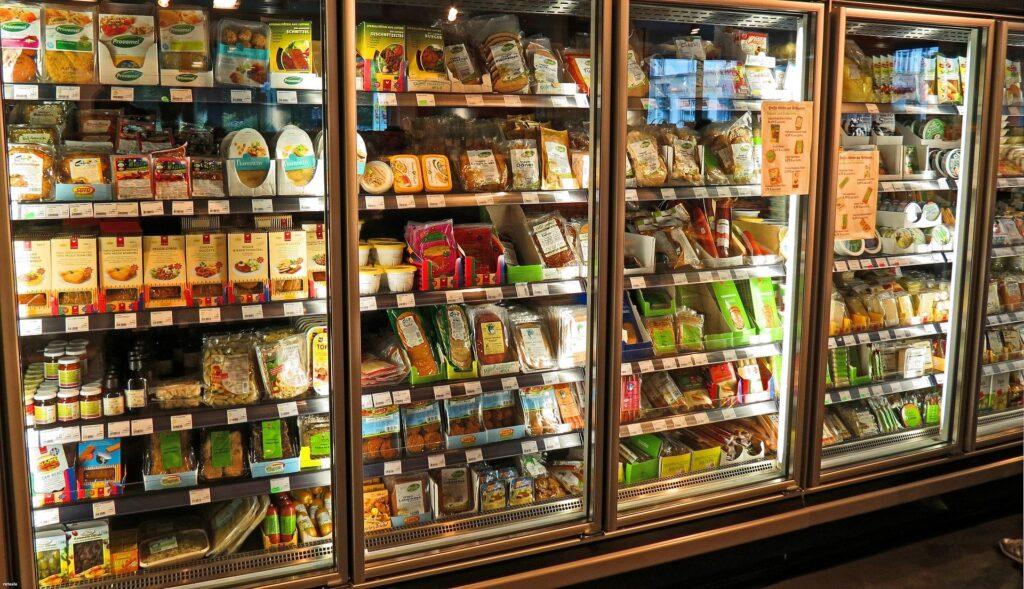 supermarket fridges filled with foods