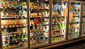 supermarket fridges filled with foods