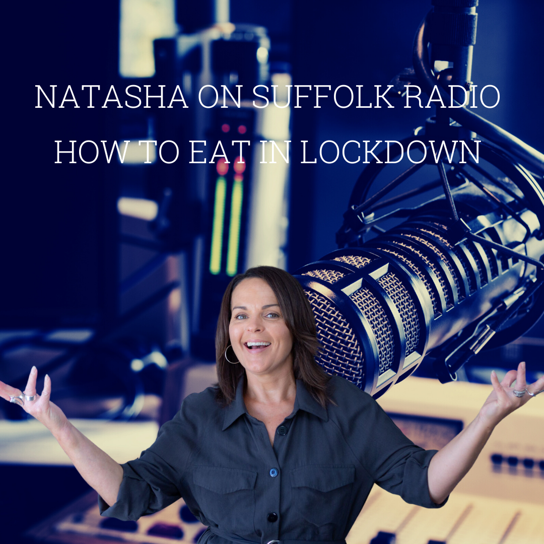 natasha with arms raised, in front of a microphone and the caption how to eat in lockdown