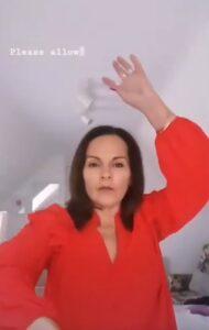 me in red dancing