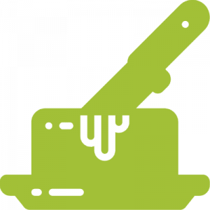 green logo of a knife in butter